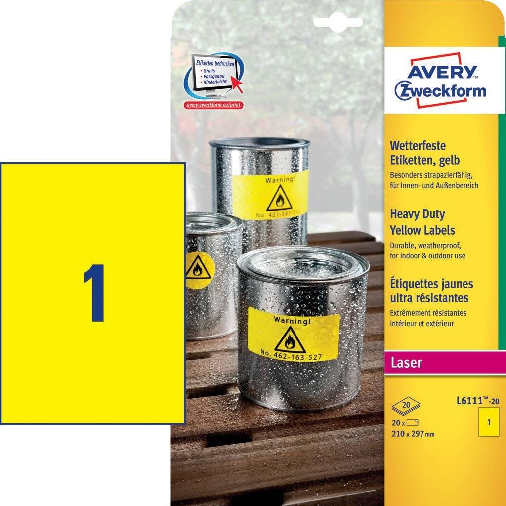 Желтые всепогодные пленочные этикетки для лазерных принтеров